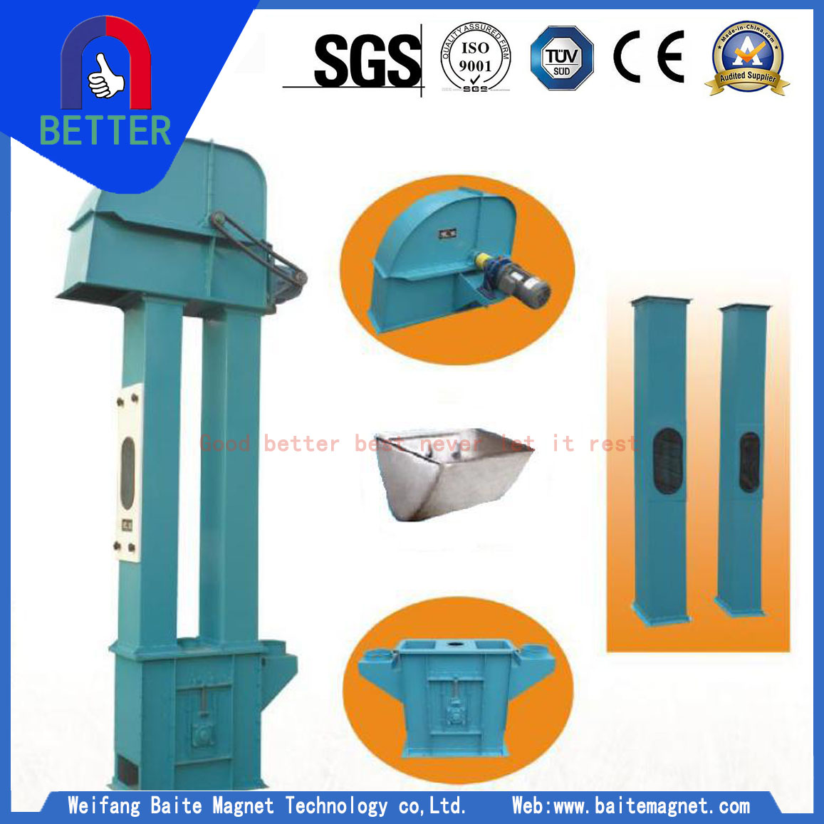 ISO Approved Bucket Elevator Manufacturers In Vietnam - Baite Magnet